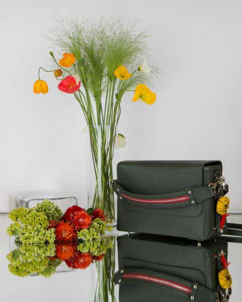 CUBE-AZUMA-Bag-dark-green-&-flowers